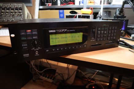 Gearjunkies video – Yamaha TG-77 display foil replacement and sound demo